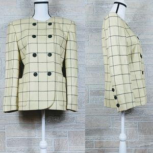 ESCADA Wool Tweed Windowpane Double Breasted Coat